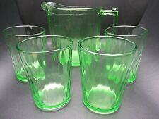 Early 1900s Jeannette Glass Uranium Hex Optic Pitcher Sunflower Base & Tumblers