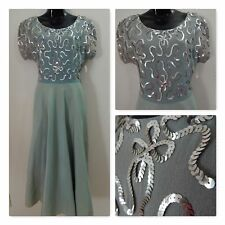 1940s-True Vintage Dress~Pale Green Sequin Fit & Flare Gown Crepe Taffeta 36b28w
