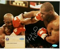 Evander Holyfield Signed (Smudged) vs Mike Tyson 8x10 Photo Steiner Sports COA