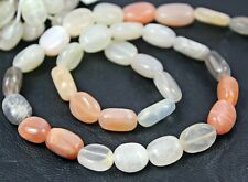"5 strand Lot Shaded Multi Moonstone Smooth Oval Nugget Gem Bead 13"" 9mm 10mm"