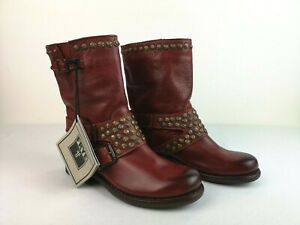 Frye Jenna Studded Boots Burnt Red Size 5.5 B