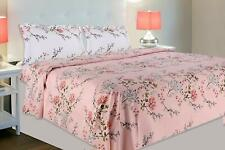 100% Cotton Pink Double Bedsheet with 2 Pillow Covers, 186 Thread Count