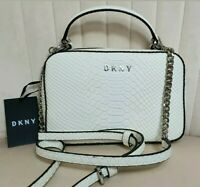 DKNY ASHLEE LEATHER CROSSBODY SIGNATURE LOGO CROC MOCK EMBOSSED BAG GENUINE