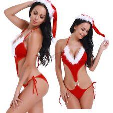 Women's Red Christmas Sleepwear Customes Sexy Babydoll Dress Lingerie Underwear