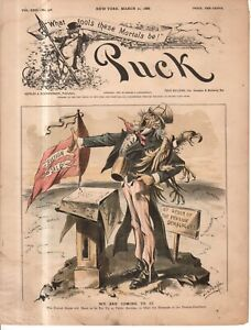 1888 Puck March 21 cover only - Uncle Sam may have to sell the U.S. for pensions