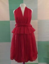VINTAGE BILL BLASS COLLECTION Couture Red Cocktail Dress 6 Halter Study Costume