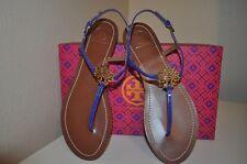 NIB $195 Tory Burch MELINDA Gold Logo BLUE COBALT Patent Leather Flat Sandal S 8