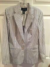 Ralph Lauren Women's Blazer, Jacket, White w/Blue Pinstripe, Women's Sz M