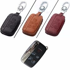 New Leather 5 Button Remote Key Bag Case Fob Holder Chain For Land Rover Series