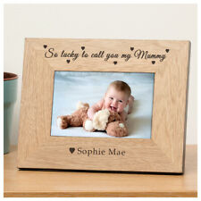 Personalised Mother's Day Wooden Photo Frame 6x4 Lucky Mummy Best Mum Mom Gifts