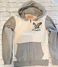 American Eagle Mens Oatmeal Gray Vintage Classic Fit Zip Hoodie Sweatshirt M