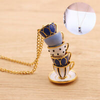 Necklace Hand Women Teacup Chain H Pendant Fashion Jewelry Long Enamel Painted