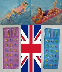 Bestway Inflatable 18 Multi Coloured Pockets Sun Beach Pool Lounger Lilo Air Bed