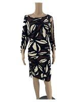 Cache Women's Sheath Dress Size S Black Brown Floral Jersey Cut Out Sleeve J1