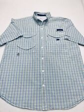 Columbia PFG Super Bonehead Shirt Womens Sz.S/P-Cotton-Blue Plaid-Sh Sleeve