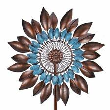 Metal Flower Wind Spinner Windmill Lawn Ornament Yard Art Teal Bronze Garden New