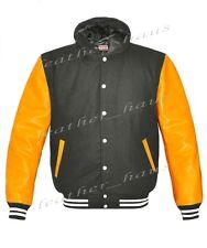 Genuine Leather Sleeve Letterman Varsity Men Wool Jackets Hoodie#YS-WSTR-WB-H-LE