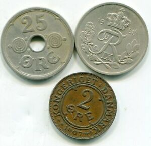 Denmark lot of (3) better vintage coins    lotapr4595