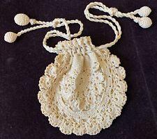 Antique Fait à la Main Crochet Cordon Sac WW624