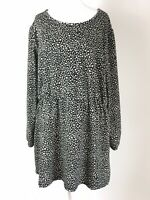 I Moda Monochrome Black Beige Animal Leopard Print Long Tunic LS Top 42 16 18