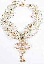 Betsey Johnson WANDERLUST Rose Gold-Tone Pave Key Faux Pearl Torsade Necklace