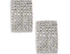 clip on earrins clear pave chrystal rectangular