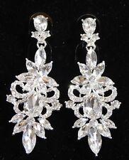 Bridal Party Earrings Silver Clear Rhinestone Crystal