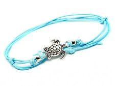 Ankle Bracelet Turtle Beaded Bohemian Anklet Foot Beach Jewelry Aqua Cord Lace