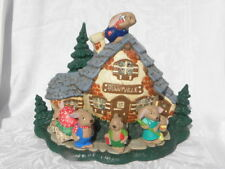 Vintage 1981 Handmade Ceramic Lighted Easter Bunnyville House with Rabbits