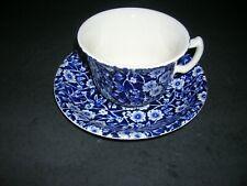 Striking Blue Calico Burleigh England Teacup and Saucer