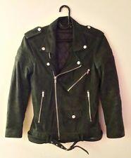 BLK DNM Dark Green Suede Moto Biker Jacket Women Size S