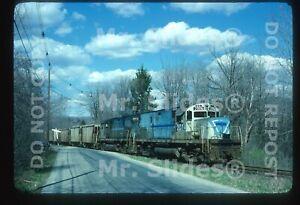 Original Slide CR Conrail Lehigh & Hudson River Paint ALCO C420 2074/2073 Action