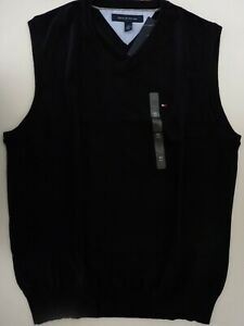 NWT Tommy Hilfiger Men's Classic V-Neck Vest Sweater Black Size M