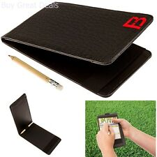 New Yardage Book Golf Scorecard Holder Leather Cover Black Fuzzy Bunkers Men
