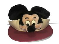 Vintage Walt Disneyland Mickey Mouse Visor 3D Plush Sun Hat Disney World RARE