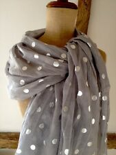 Scarf With Metallic Silver Polka Dots In Grey.