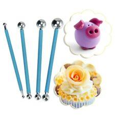 4pcs Fondant Cake Flower Metal Ball Modelling Decor Sugar Craft Pen Tool Set
