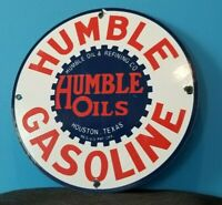 VINTAGE HUMBLE GASOLINE PORCELAIN GAS OIL TEXAS SERVICE STATION PUMP SIGN