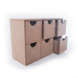 MDF Small Storage Box Desk Organiser With 6 Drawers / Unpainted Chest Cupboard