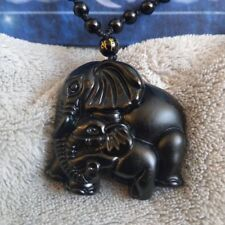 Black Obsidian Elephant Bead Necklace adjustable