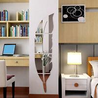 3D Spiegel Feder Wandaufkleber Wandtattoo Wandsticker Abnehmbare Zimmer Dekor