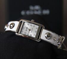 Coach Women Thompson Stainless Steel White Enamel Stud Bangle Watch 14502552 NWT