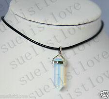 Genuine Leathe Necklace Gem Pendant opalite Opal Crystal Quartz Point Choker