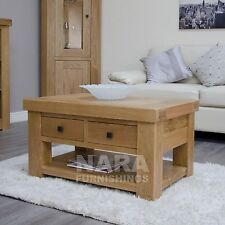 Alaska solid oak furniture storage coffee table with drawers