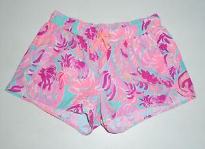 "LILLY PULITZER Luxletic 3"" Mini Shorts LOVE BIRDS Runaround Pink/Teal NEW : XS"