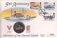Primer día cubierta de liberación de las Islas del Canal 1945-1995