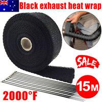 2000F Exhaust Wrap Heat Resistant 15M*50mm + 10 Stainless Steel Ties Black