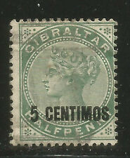 Gibraltar 1889 Queen Victoria 5c on 1/2p green surcharge (22) used