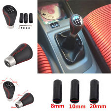 Aluminum Car Manual 5 Speed Gear Shift Knob Shifter Lever Black Leather Red line