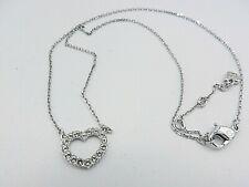 "Signed Swarovski Necklace Petite Heart Rhodium 14.75 - 16.75"" N151"